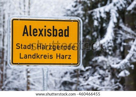 road sign with the city ''Alexisbad''  in the Harz mountains, Germany