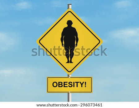 Road sign with the issue of obesity and proper weight on the sky background. Raster illustration.