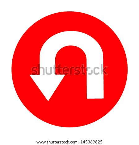 road sign with turn symbol isolated on white background,U-Turn Roadsign - stock photo