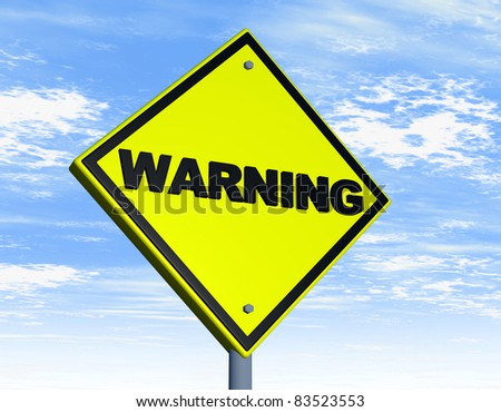 Road sign with warning word over a yellow background - stock photo