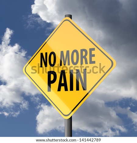 Road sign Yellow with words No More Pain on blue sky background - stock photo