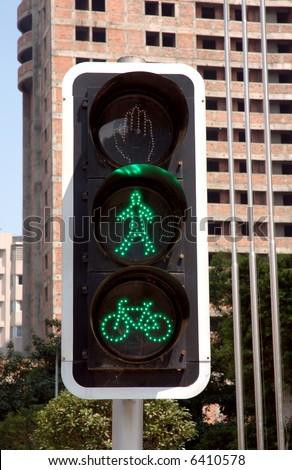road signal in Chengdu, western of China - stock photo