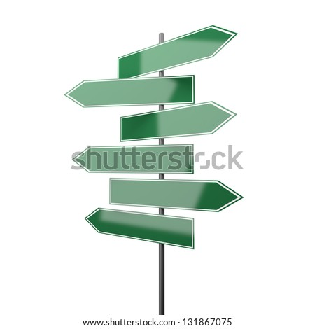 road signs green isolated on white background - stock photo