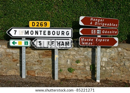 Road signs in Fresville France.