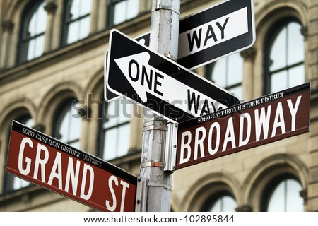 Road signs in Manhattan, New York city, USA.