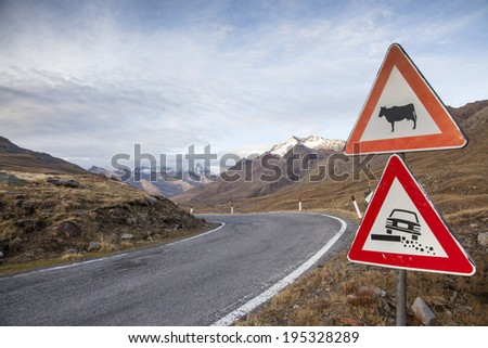 road signs in the mountains - stock photo