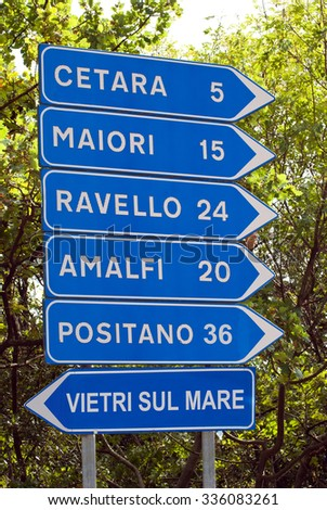 Road signs of the Amalfi peninsula, Italy