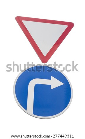 road signs on a white background - stock photo