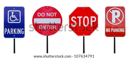 Road signs on driving - stock photo