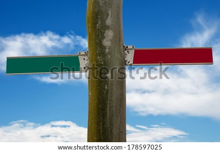 road signs over sky background - stock photo