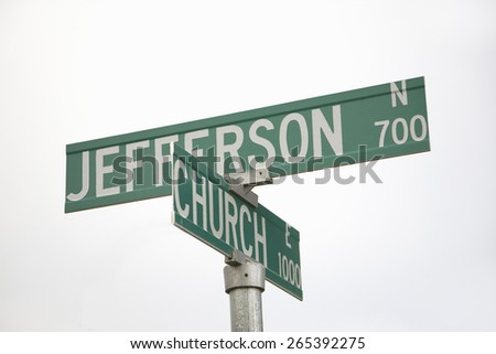 Road signs reading Jefferson & Church - representing Separation of Church and State, Pierre, South Dakota - stock photo