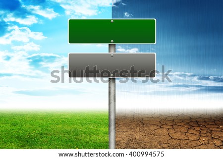 Road signs with different sides of nature, ecology concept. 3D rendering