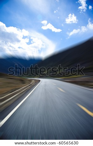 road speed Mountain sky - stock photo