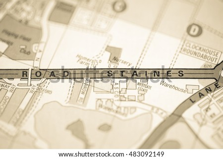 Road Staines. London, UK map.