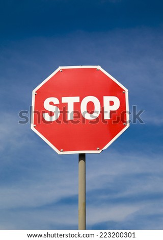 Road stop sign - stock photo
