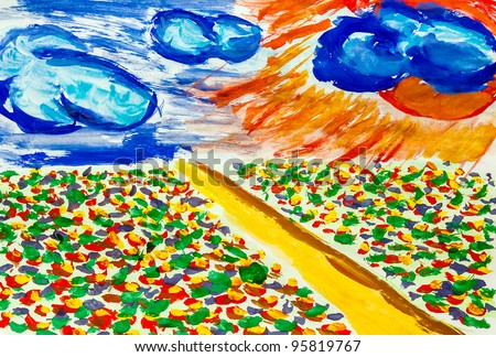road style of Van Gogh through field flowers sky with clouds and sun watercolor background