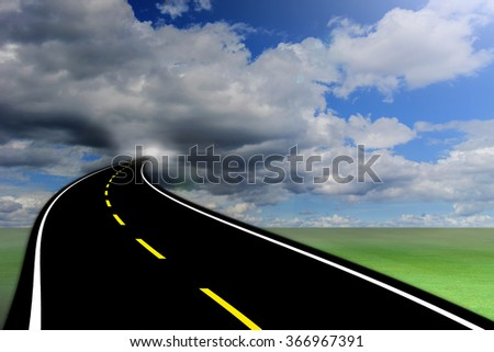 Road suspended in the sky over the clouds - stock photo