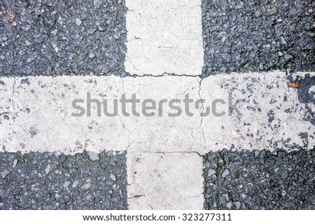 Road texture with cross white line , close up - stock photo