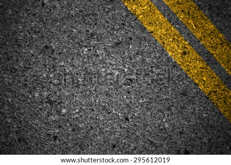 Road texture with two yellow - stock photo
