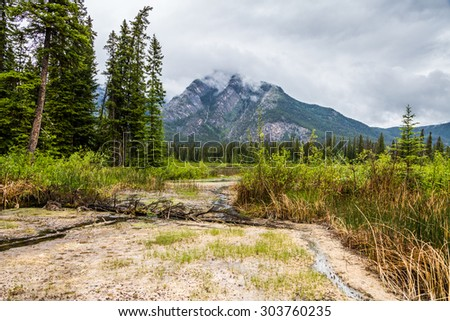 road the marsh loop in Banff with a mountain summit in the background and cloudy sky landscape - stock photo