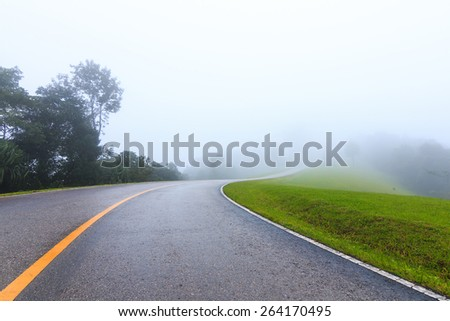 road the rainy season in Thailand. - stock photo
