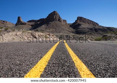road through big bend national park texas - stock photo