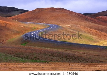 Road through colored landscape, Iceland - stock photo