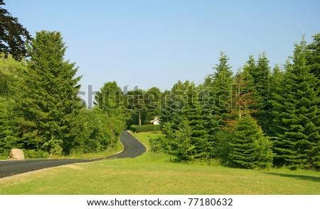 road through countryside - stock photo