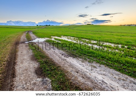 Road through cultivating the land in the countryside on a summer evening with cloudy sky background. Landscape. Sunset.