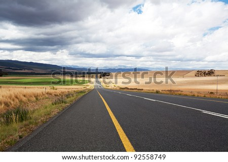 road through farm land in western cape, south africa - stock photo