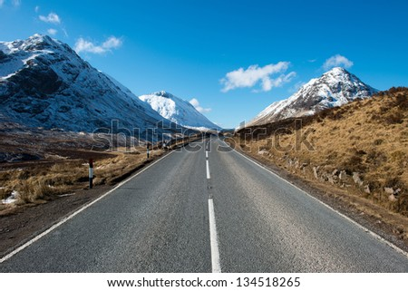 Road through Glencoe ,Scotland - stock photo