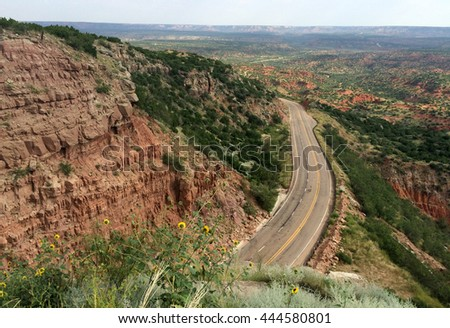 Road through Palo Duro Canyon in Texas