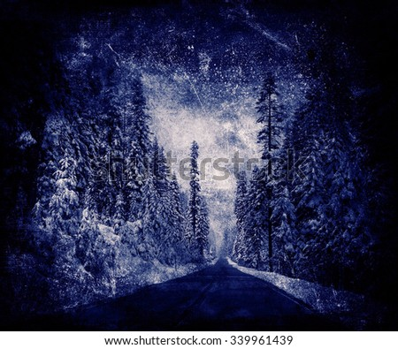 Road Through Snowy Forest, Beautiful Mystical Christmas Background
