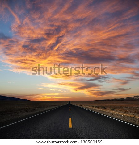 Road through the Death Valley, USA. - stock photo