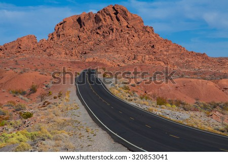 Road through the desert in Nevada through Valley of Fire, NV