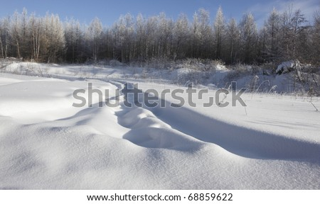 road through the forest in winter in the northeast of china - stock photo