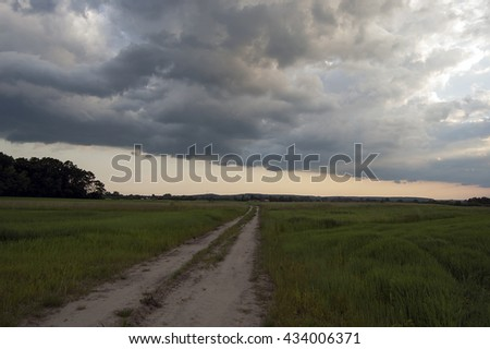 Road through the meadow and rain clouds