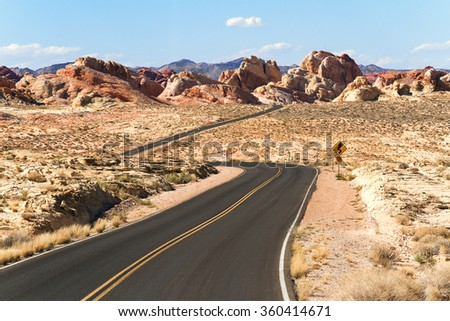 Road through Valley of Fire State Park, Southern Nevada, USA