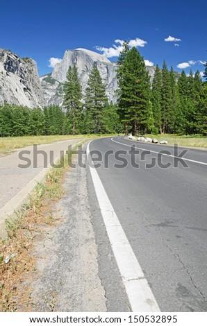 Road through Yosemite national park, California, USA - stock photo