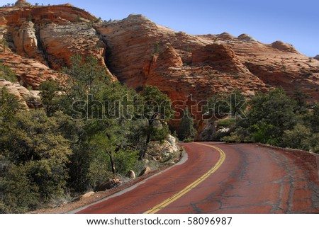 Road Through Zion National Park, Utah - stock photo