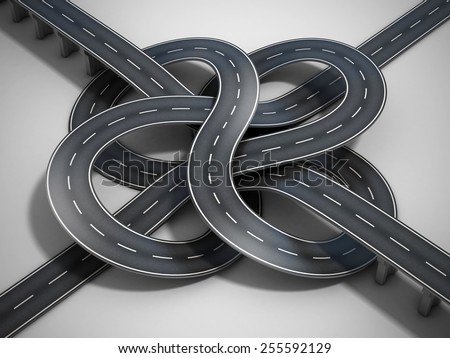 road tied in a bungle - stock photo