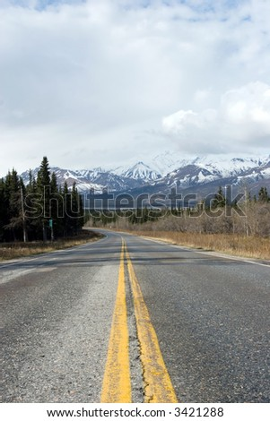 Road to Alaska Denali National Park - stock photo