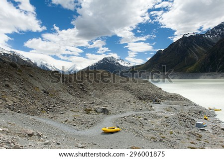 Road to Aoraki - Mount Cook, Southern Alps, New Zealand. Trail in Hooker Valley to glacier, section of a track leading to highest peak of Southern Alps an icon of New Zealand. - stock photo