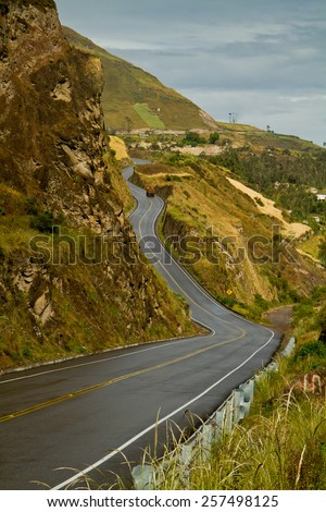 Road to beautiful andean city of Canar in Azogues Ecuador South America - stock photo