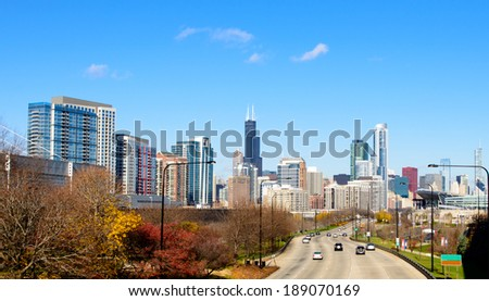Road to Chicago - stock photo