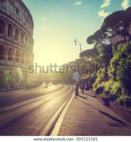 road to Colosseum in sunset time, Rome, Italy - stock photo