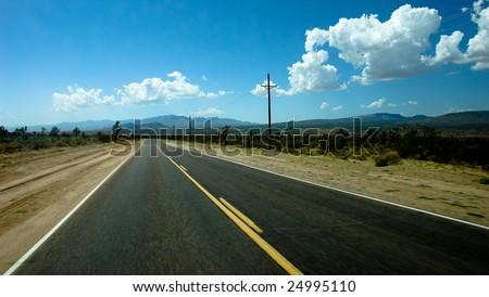 Road to desert 2 - stock photo