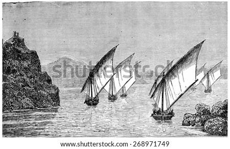 Road to Dongola, vintage engraved illustration. Journal des Voyage, Travel Journal, (1880-81). - stock photo