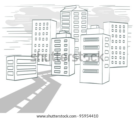 Road to Downtown - stock photo