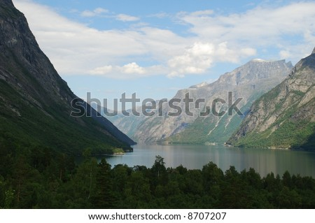 Road to Eikesdal, Norway - beatiful view with mountains and fjords